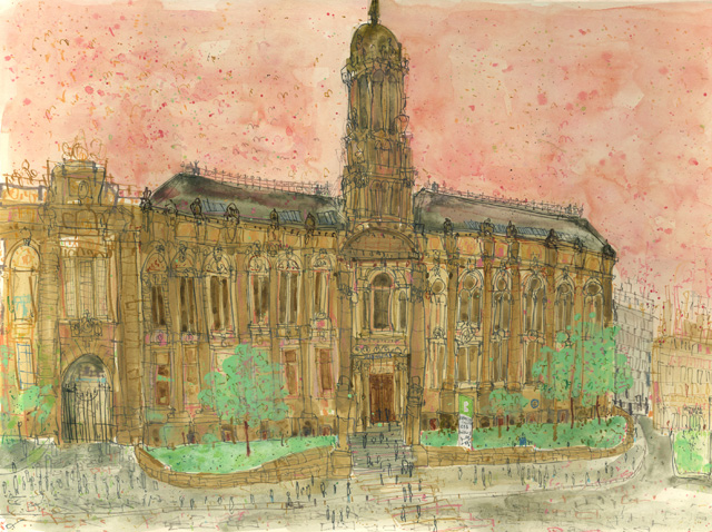 Painting of Bradford College's Old Building by College alumna Clare Caulfield