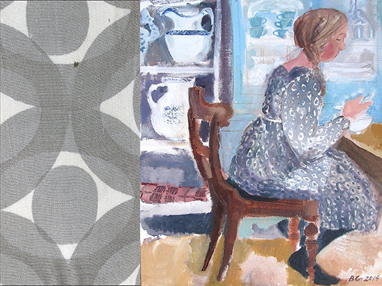'Girl Eating Porridge' by Brita Granström with fabric sample from Bradford College Textile Archive which inspired the painting