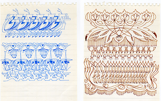 Drawings by June Russell inspired by work in Bradford College Textile Archive