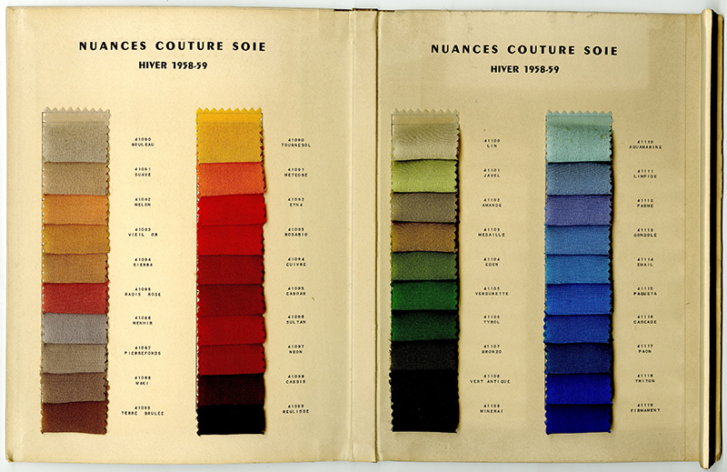 colour palette samples (Summer and Winter) issued by the Nuances Couture Soie, of Paris