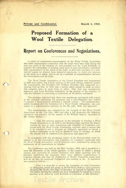 Wool Textile Association report 1921 re proposed formation of wool textile delegation