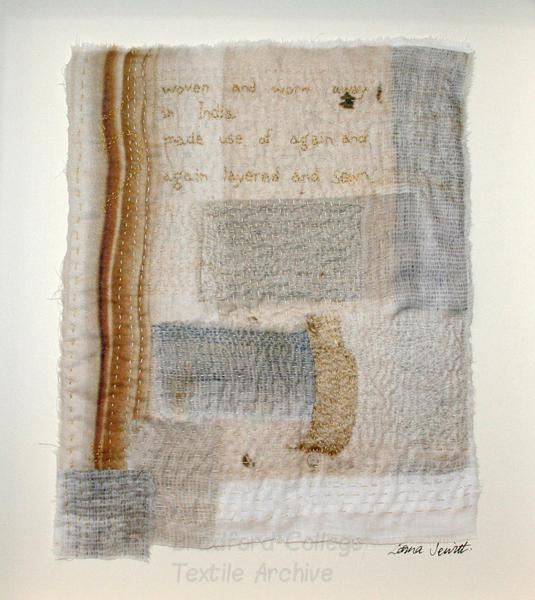 Work by Lorna Jewitt inspired by Bradford College Textile Archive